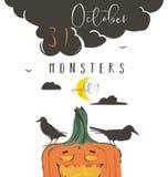 Hand getrokken vector abstracte de illustratieaffiche van beeldverhaal Gelukkige Halloween met raven, pompoen, maan en moderne ka Stock Fotografie