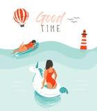 Hand getrokken vector abstracte de pretillustratie van de de zomertijd met zwemmende gelukkige mensen in water met vuurtoren, het royalty-vrije illustratie