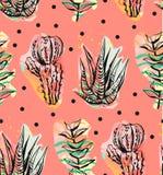 Hand getrokken vector abstracte grafische creatieve succulent, cactus en installaties naadloos patroon op stippenachtergrond unie royalty-vrije illustratie
