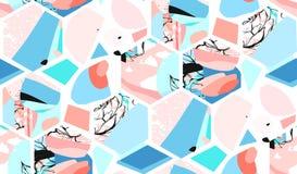 Hand getrokken vector artistiek universeel geweven abstract naadloos patroon met hexagon vormen, texturen en aard bloemen Stock Foto's