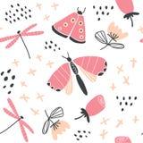 Hand getrokken vector bloemenpatroon met vlinders royalty-vrije illustratie