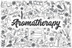 Hand getrokken vector de krabbelreeks van Aromatherapy royalty-vrije illustratie
