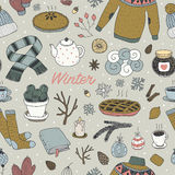 Hand getrokken vector de winter naadloos patroon vector illustratie