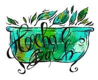 Hand getrokken vector kruidenbadillustratie Kruidenetiketten voor handroom, ontspanningsolie en de doos van het badschuim naughty vector illustratie