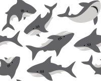 Hand getrokken vector naadloos patroon met leuke haaien op witte achtergrond royalty-vrije illustratie