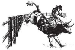 Hand getrokken vector, uit de vrije hand - Rodeo vector illustratie