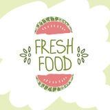 Hand getrokken vectorelement Vers voedsel embleem Kan voor advertenties worden gebruikt Stock Afbeeldingen