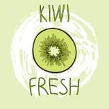 Hand getrokken vectorelementen Het fruit van de kiwi vers embleem Kan voor advertenties, uithangborden, identiteit en Webontwerpe Stock Foto