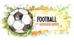 Hand getrokken vectorgrungebanner met voetbalbal en plonsen Stock Foto