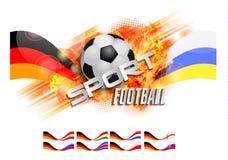 Hand getrokken vectorgrungebanner met voetbalbal, modieuze samenstelling en oranje waterverfachtergrond, Stock Foto's