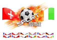 Hand getrokken vectorgrungebanner met voetbalbal, modieuze samenstelling en oranje waterverfachtergrond, Royalty-vrije Stock Fotografie