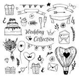 Hand Getrokken vectorhuwelijksinzameling Perfectioneer voor uitnodigingen stock illustratie