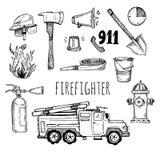 Hand getrokken vectorillustratie - brandbestrijder Schetspictogrammen Stock Foto