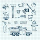 Hand getrokken vectorillustratie - brandbestrijder Schetspictogrammen Stock Foto's