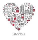 Hand getrokken vectorillustratie Istanboel van beroemde Turkse symbolen in hartvorm stock illustratie