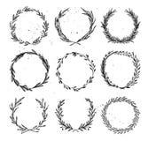 Hand getrokken vectorillustratie - Laurels en kronen Ontwerp ele vector illustratie