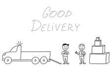 Hand getrokken vectorillustratie, leveringsmensen met vrachtwagen Royalty-vrije Stock Afbeelding