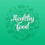 Hand getrokken vectorillustratie met gezond voedsel Stock Afbeelding