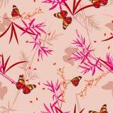 Hand getrokken vectorillustratie Naadloos patroon Bloemen met oosterse vlinders in de bamboetuin Ontwerp voor manier, stof, vector illustratie