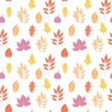 Hand getrokken vectorillustratie Naadloos patroon met dalingsverlof Royalty-vrije Stock Afbeelding