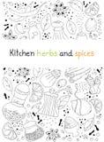 De kruiden en de kruidenkrabbelachtergrond van de keuken Stock Afbeeldingen
