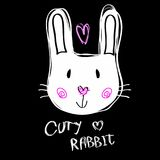 Hand getrokken vectorillustratie van een leuk grappig konijntjesgezicht Royalty-vrije Stock Fotografie