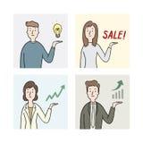 Hand getrokken vectorillustratie van mensen die iets tonen zakenman met hand huidige omhoog grafiek en grafiek Stock Foto