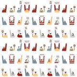 Hand getrokken vectorillustratie van vrouwen die het patroon van protesttekens houden Menigte van mensenportret Royalty-vrije Stock Foto's