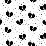 Hand getrokken vectorillustratie van zwart gebroken hartpatroon Vector Illustratie