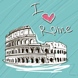 Hand getrokken vectorillustratie Wereldberoemde Landmarck-Reeks: Italië, Rome Ik houd van Rome Royalty-vrije Stock Foto