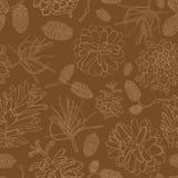 Hand getrokken vectorillustraties Naadloos patroon met denneappels Bos achtergrond Stock Foto's