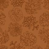 Hand getrokken vectorillustraties Naadloos patroon met denneappels Bos achtergrond Stock Afbeelding