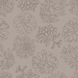 Hand getrokken vectorillustraties Naadloos patroon met denneappels Bos achtergrond Stock Foto