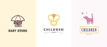 Hand getrokken vectorinzameling van babyembleem Stock Afbeeldingen