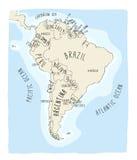 Hand getrokken vectorkaart van Zuid-Amerika Stock Foto