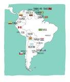 Hand getrokken vectorkaart van Zuid-Amerika met vlaggen Royalty-vrije Stock Foto's