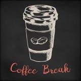 Hand getrokken vectorschetsillustratie - koffiewinkel of koffiemenu, creatief uitstekend van de de kledingsdruk van het T-stukove Royalty-vrije Stock Foto