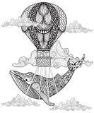 Hand getrokken vectorwalvis die met artistieke luchtballon vliegen in clou stock illustratie