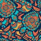 Hand getrokken veelkleurig naadloos patroon Vector etnische achtergrond royalty-vrije illustratie