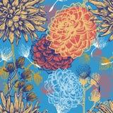 Hand getrokken vintaget bloemen naadloos patroon stock illustratie