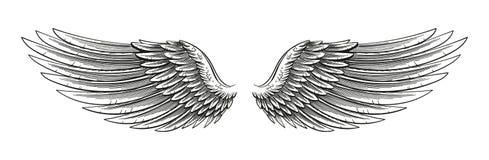 Hand Getrokken Vleugels stock illustratie