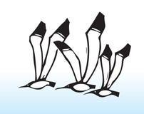 Hand getrokken vliegende vogels royalty-vrije illustratie