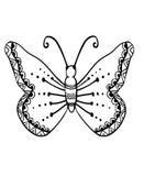Hand getrokken vlinder Stock Afbeelding