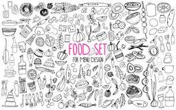 Hand getrokken voedselelementen Reeks voor menudecoratie beeldverhaal Eenvoudige gestileerde vormen stock foto's