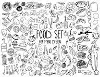 Hand getrokken voedselelementen Reeks voor menudecoratie beeldverhaal Eenvoudige gestileerde vormen stock afbeeldingen