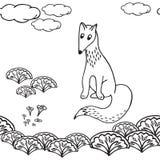 Hand getrokken vos in het bos Stock Illustratie