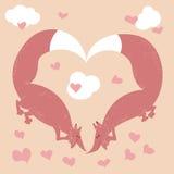 Hand getrokken vossen in liefde Royalty-vrije Stock Fotografie