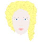 Hand Getrokken Vrouw in Volledig Gezicht met Blauwe Ogen en Blonde Krullende Haren royalty-vrije illustratie