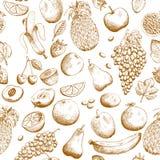 Hand getrokken vruchten naadloos patroon Royalty-vrije Stock Afbeelding
