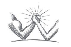 Hand getrokken wapen die tussen sterk worstelen en zwak stock illustratie